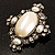 Vintage Oval Simulated Pearl Diamante Brooch (Antique Silver) - view 3