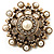 Antique Gold Filigree Simulated Pearl Corsage Brooch - view 2
