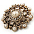 Antique Gold Filigree Simulated Pearl Corsage Brooch - view 3