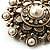 Antique Gold Filigree Simulated Pearl Corsage Brooch - view 5