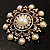 Antique Gold Filigree Simulated Pearl Corsage Brooch - view 8