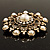 Antique Gold Filigree Simulated Pearl Corsage Brooch - view 9