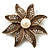 Antique Gold Simulated Pearl Crystal Flower Brooch