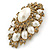 Oversized Vintage Corsage Imitation Pearl Brooch (Antique Gold) - view 12