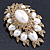 Oversized Vintage Corsage Imitation Pearl Brooch (Antique Gold) - view 18
