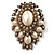 Oversized Vintage Corsage Imitation Pearl Brooch (Antique Gold) - view 10