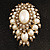 Oversized Vintage Corsage Imitation Pearl Brooch (Antique Gold) - view 2