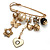 'Heart, Butterfly, Flower & Bead' Charm Safety Pin (Gold Tone) - view 2
