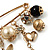 'Heart, Butterfly, Flower & Bead' Charm Safety Pin (Gold Tone) - view 6