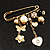 'Heart, Butterfly, Flower & Bead' Charm Safety Pin (Gold Tone) - view 3