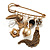 'Tassel, Leaf, Butterfly, Flower & Bead' Charm Safety Pin (Gold Tone) - view 4