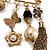 'Tassel, Leaf, Butterfly, Flower & Bead' Charm Safety Pin (Gold Tone) - view 6