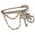 'Heart, Crown, Key & Pearl Chain' Charm Diamante Safety Pin Brooch (Silver Tone)