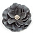 Large Light Grey Crystal Satin Flower Brooch - view 3