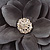 Large Light Grey Crystal Satin Flower Brooch - view 4