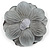 Large Light Grey Crystal Satin Flower Brooch - view 5