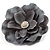 Large Light Grey Crystal Satin Flower Brooch - view 2
