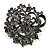 Ash Grey Diamante Corsage Brooch (Black Tone Metal)