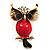 Vintage Enamel Diamante Owl Brooch (Antique Gold Metal)
