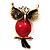 Vintage Enamel Diamante Owl Brooch (Antique Gold Metal) - view 7