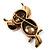 Vintage Enamel Diamante Owl Brooch (Antique Gold Metal) - view 6