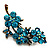 Swarovski Crystal Floral Brooch (Antique Gold & Green Teal) - view 4