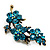 Swarovski Crystal Floral Brooch (Antique Gold & Green Teal) - view 5