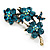 Swarovski Crystal Floral Brooch (Antique Gold & Green Teal) - view 2