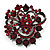 Burgundy Red Diamante Corsage Brooch (Black Tone)