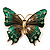 Oversized Green Enamel Butterfly Brooch (Gold Tone Metal)