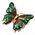 Oversized Green Enamel Butterfly Brooch (Gold Tone Metal) - view 2