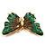 Oversized Green Enamel Butterfly Brooch (Gold Tone Metal) - view 3