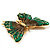 Oversized Green Enamel Butterfly Brooch (Gold Tone Metal) - view 4
