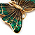 Oversized Green Enamel Butterfly Brooch (Gold Tone Metal) - view 5