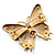 Oversized Green Enamel Butterfly Brooch (Gold Tone Metal) - view 6