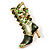 Olive Green Enamel Crystal High Boot Pin Brooch (Gold Tone Metal) - view 5