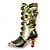 Olive Green Enamel Crystal High Boot Pin Brooch (Gold Tone Metal) - view 6