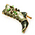 Olive Green Enamel Crystal High Boot Pin Brooch (Gold Tone Metal) - view 2