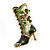Olive Green Enamel Crystal High Boot Pin Brooch (Gold Tone Metal) - view 8