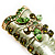Olive Green Enamel Crystal High Boot Pin Brooch (Gold Tone Metal) - view 3