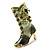Olive Green Enamel Crystal High Boot Pin Brooch (Gold Tone Metal) - view 4