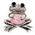 'Smiling Frog' Crystal Brooch (Silver Tone Metal) - view 1