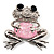 'Smiling Frog' Crystal Brooch (Silver Tone Metal) - view 8