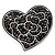 'White Rose In The Black Crystal Heart' Brooch (Gun Metal)