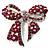 Stunning Magenta Swarovski Crystal Bow Brooch (Silver Tone)