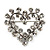 Tiny Crystal Open Heart Brooch (Silver Tone Metal) - view 2
