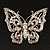 Clear Crystal Butterfly Brooch (Silver Tone Metal)