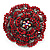 Spectacular Hot Red Dimensional Rose Brooch (Antique Silver Tone) - view 8
