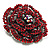 Spectacular Hot Red Dimensional Rose Brooch (Antique Silver Tone) - view 9