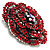 Spectacular Hot Red Dimensional Rose Brooch (Antique Silver Tone) - view 3